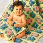 çiçekli bebek battaniyesi
