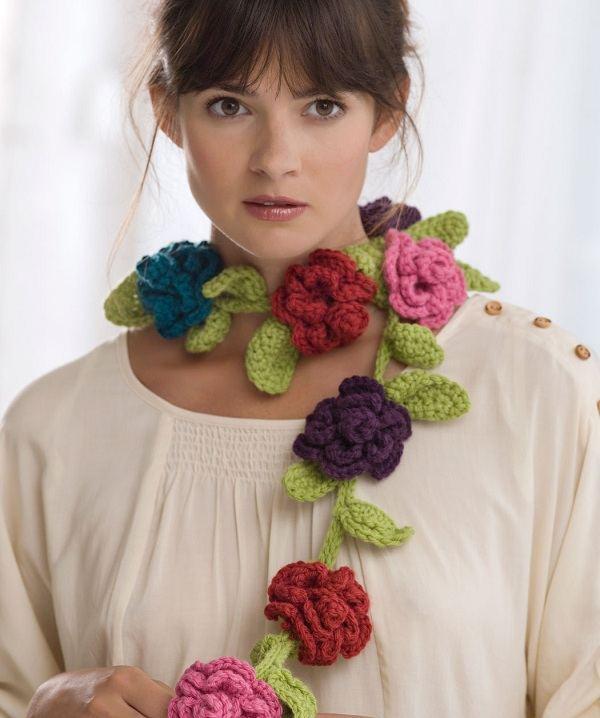 Вязание шарфов с цветами 74