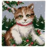 çocuk odaları için kanaviçe kedi tablosu
