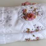 çeyizlik beyaz çiçekli kurdela nakışı havlular