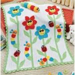 çiçek figürlü renkli bebek battaniyesi modeli