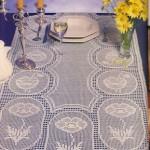 çiçek motifli krem rengi dantel masa örtüsü modeli