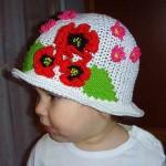 çiçekli şık kız çocuk şapkası