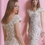 çiçekli krem beyaz  abiye elbise örneği