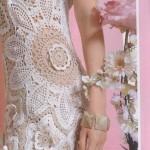 çiçekli krem beyaz  abiye elbise modelleri