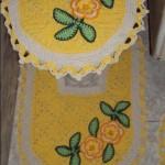 çiçekli motifli banyo klozet takımı