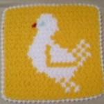 ördek desenli sarı beyaz lif örneği