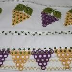üzüm salkımlı halkalı havlu kenarı