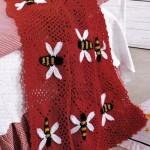 bal arısı desenli kırmızı bebek battaniyesi modeli