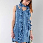 bayan mavi örgü elbise örneği