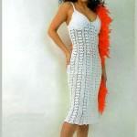 beyaz askılı şık dantel elbise örneği