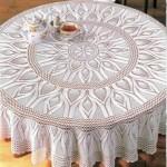 beyaz dantel yuvarlak masa örtüsü modeli