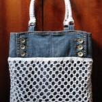 beyaz fileli kot çanta modeli