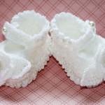 beyaz renkli incili bebek patik modeli