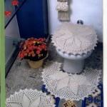 beyaz yaprak desenli klozet takımı modeli