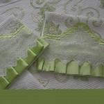 dantel oymalı fıstık yeşili pike takımı modeli