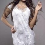 delikli dantel tığ işi beyaz elbise tasarımı