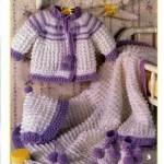 eflarun beyaz renkli patik battaniye takımlı örgü bebek hırka modeli