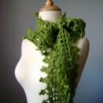 fıstık yeşili çok şık fular modeli