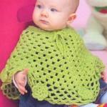fıstık yeşili renginde bebek panço modeli