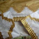 gül desenli dantel oymalı pike takımı modeli