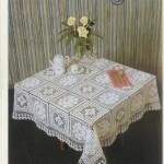 gül ve çiçek motifli dantel masa örtüsü modeli