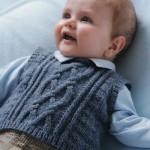 gri örgü erkek bebek süveter modeli