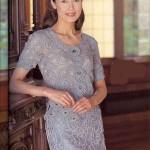 gri dantel tığ işi elbise modelleri