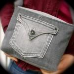 gri renkli küçük kot çanta modeli