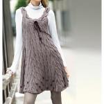 gri saç örgü kolsuz elbise modeli