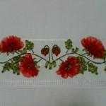 kırmızı çiçekli kurdela nakışı havlu örnekleri