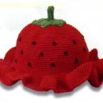 kırmızı çilek bebek şapkası modeli