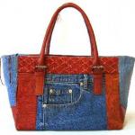kırmızı kulplu kot çanta modeli
