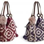 kırmızı mavi ponponlu örgü çanta modeli