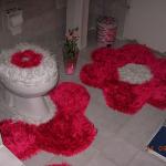 kırmızı papatyalı klozet takımı modeli