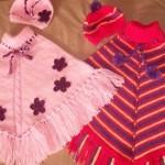kırmızı pembe rende bebek panço modeli