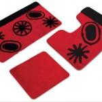 kırmızı siyah desenli klozet takımı modeli