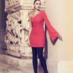 kırmızı tek kollu gece elbisesi
