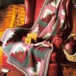 kırmızı yeşil kareli örgü koltuk örtüsü modeli