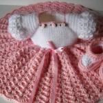 kız bebek örgü elbise ve patik modelleri