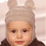 kahverengi kulaklı bebek şapka modeli