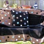 kahverengi siyah puanlı örgü koltuk örtüsü modeli