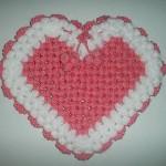 kalp şeklinde örülmüş banyo lifi örneği