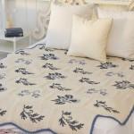 kanaviçe işi yatak örtüsü modeli