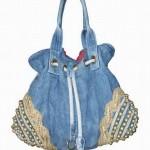 kenarı boncuk işlemeli kot çanta modeli