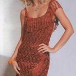 kiremit rengi askılı dantel elbise