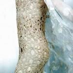 krem örgü elbise modelleri