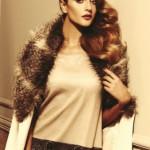 krem dantelli elbise kren kürklü manto model
