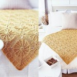 krem floş örgü yatak örtüsü
