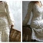 krem kışlık elbise modeli